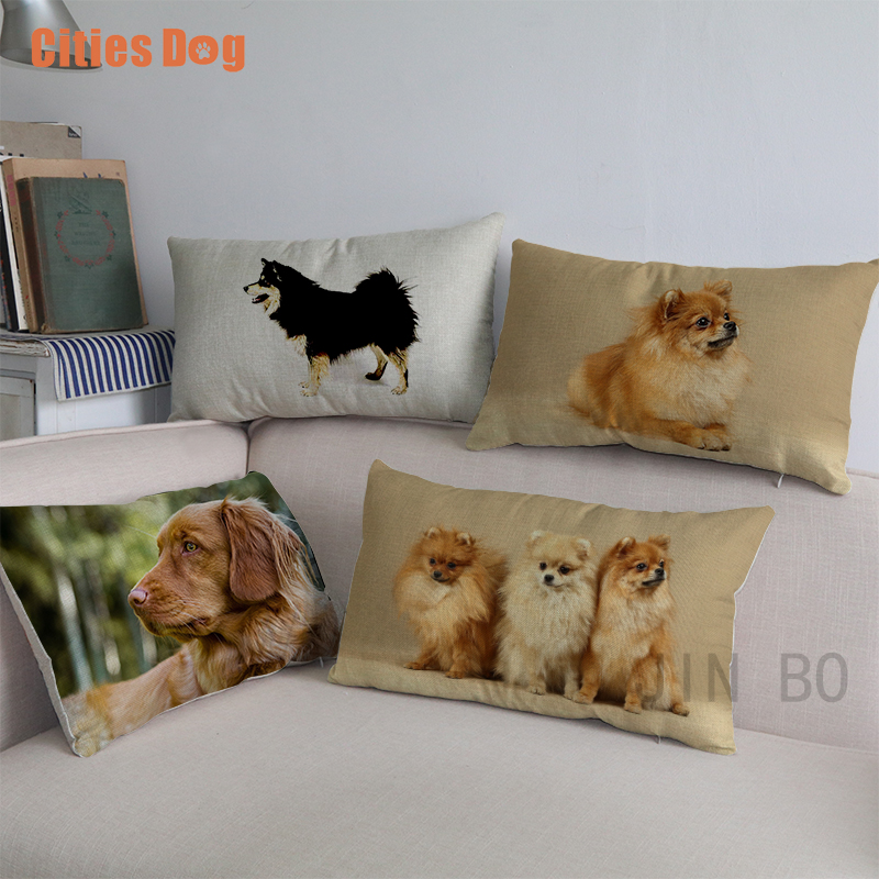 Finnish Spitz dog Waist <font><b>pillows</b></font> cushion cover new Year decorative sofa Valentine's Day gift <font><b>30x50</b></font> cm Lumbar <font><b>pillow</b></font> <font><b>case</b></font> almofada image