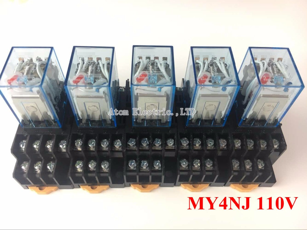 5PCS MY4NJ AC DC 110V Coil 5A 4NO 4NC Green LED Indicator Power Relay DIN Rail 14 Pin time relay with socket base hh52pl dc 220v coil 8 pins dpdt green led indicator light power relay 5 pcs free shipping