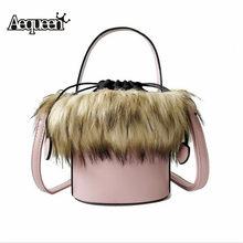 d6867bb735b2 AEQUEEN Faux Fur Women Handbag PU Leather Messenger Bags Bolsa Female  Bucket Shoulder Bags Ladies Party