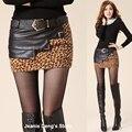 Лето осень мода конструктор женщина леопардовым принтом искусственная кожа лоскутное карандаш мини юбка женщин с коротким Saia женский блесток юбки