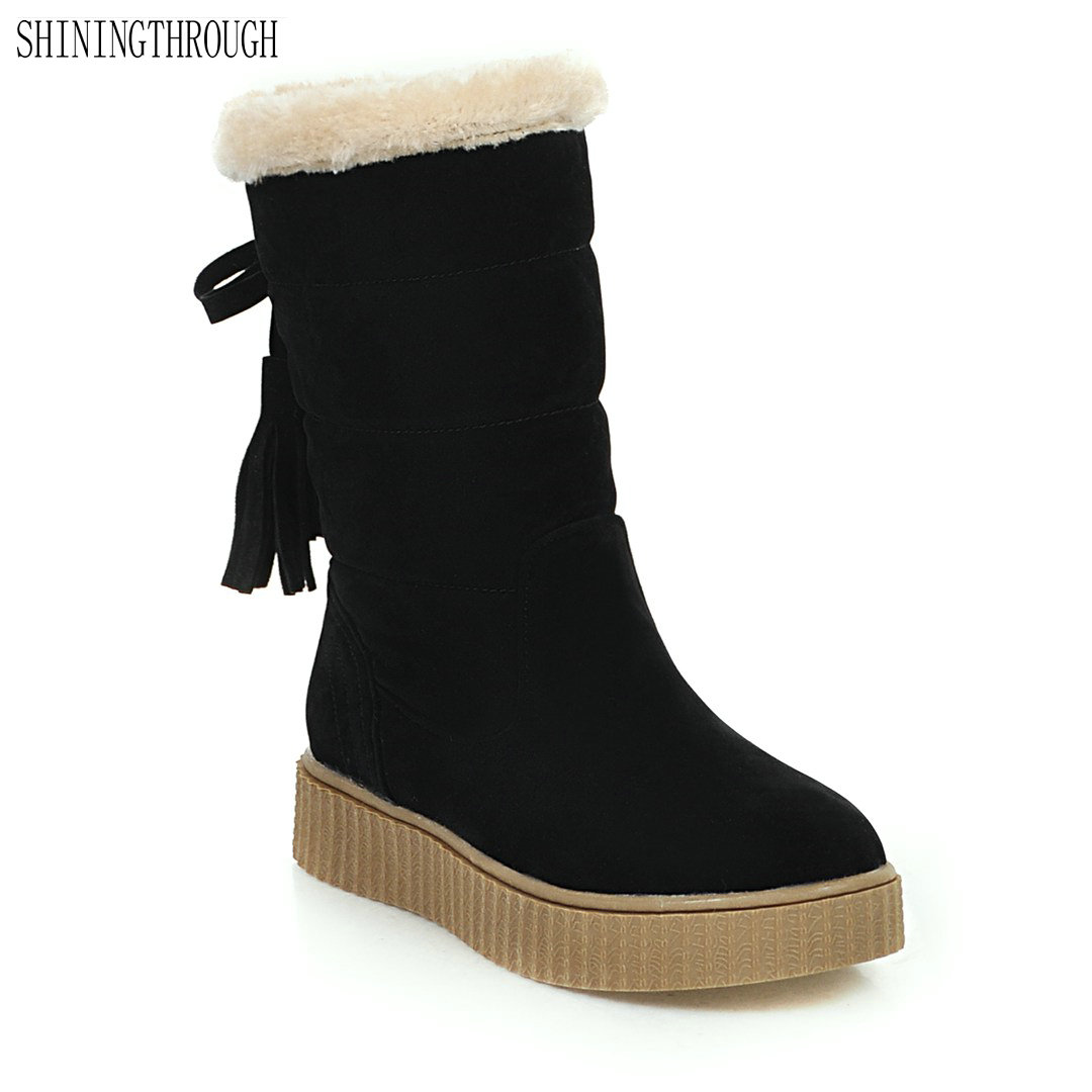 2018 New fashion mid-calf boots flat women boots winter warm snow boots casual tassel shoes woman black beige yellow fashion women s mid calf boots with tassel and cross straps design