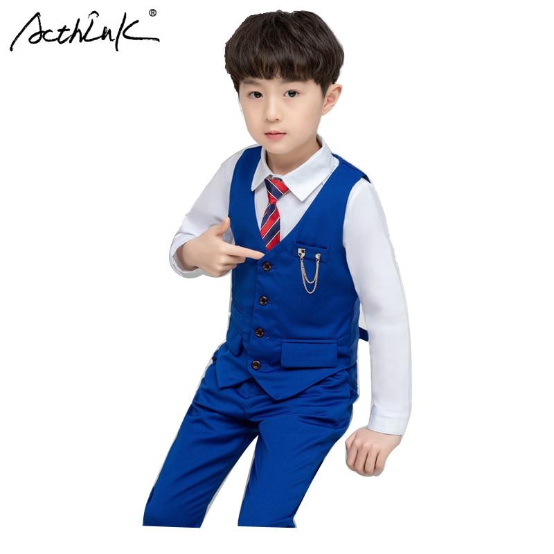 ActhInK 2019 Hot Sell 3Pcs Boys Tuxedos Suit Waistcoat+Shirts+Pants Set Children Solid Vest Wedding For