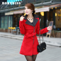 New autumn and winter women red coat long section Double-sided woolen coat stand collar Slim jacket with Sash and epaulets TG091