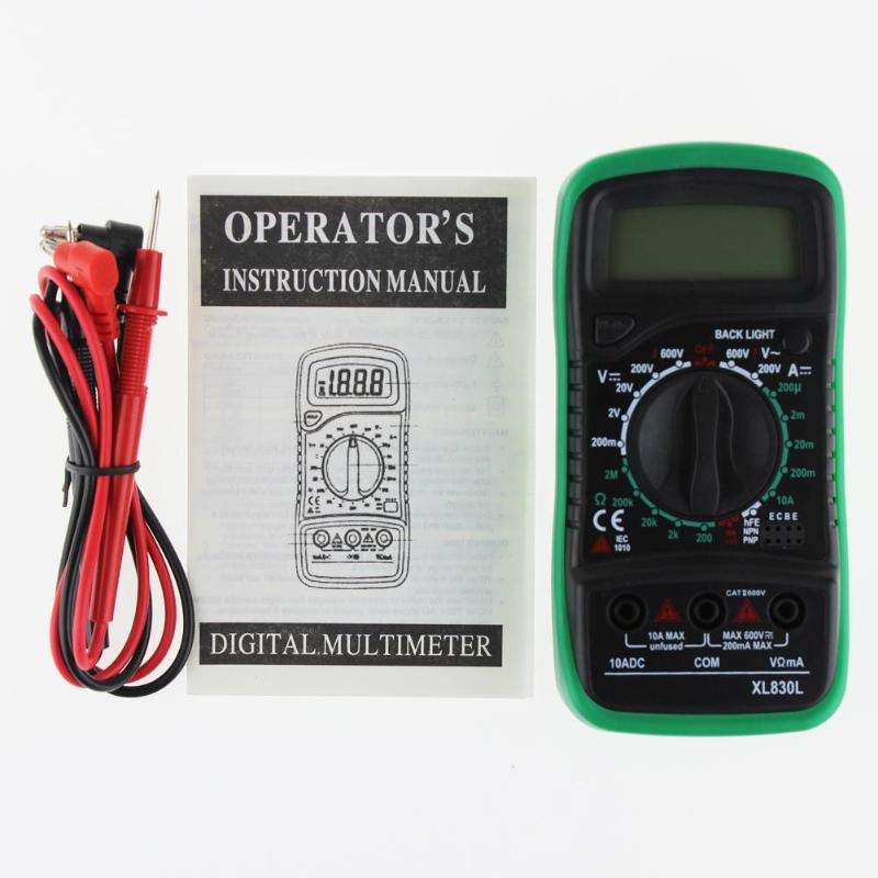 HTB1ln0 XovrK1RjSspcq6zzSXXaU Professional XL830L Digital Multimeter Voltmeter Ammeter AC DC OHM Volt Tester LCD Test Current Multimeter Overload Protection
