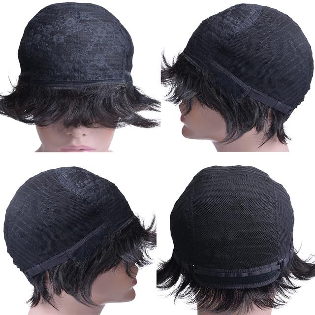 Pelucas cortas de cabello humano para mujeres.Pelo Remy brasileño