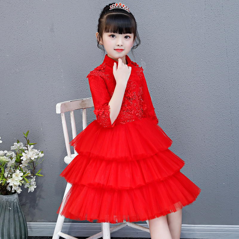 2019 Autumn Winter Chinese Wind children girls princess red colors flowers birthday wedding puff dress piano show costumes dress2019 Autumn Winter Chinese Wind children girls princess red colors flowers birthday wedding puff dress piano show costumes dress