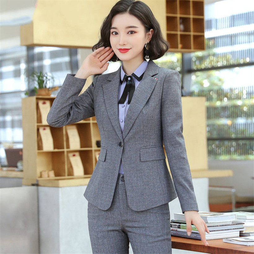 Autumn New Gray Business Interview Women Pants Suits Work Office Lady Long Sleeve Slim Formal Blazer And Pants Set Plus Size