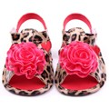 2017 Baby Girls Flower Shoes Pu Leather Leopard  Prewalker Crib Shoes Hot Sale