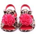 2017 Baby Girls Flower Shoes Pu Leather Leopard  Prewalker Crib Shoes Hot Sale