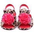 Flor 2017 de los Bebés Zapatos de Prewalker los Zapatos Del Pesebre Del Leopardo Del Cuero de La Pu de La Venta Caliente