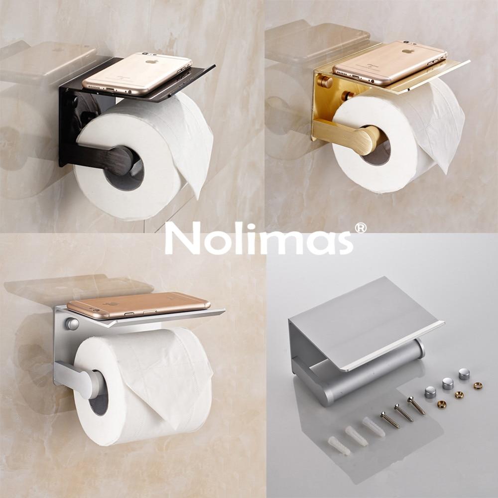New Arrival Multi-function Toilet Paper Holder Aluminum Bathroom Shelf With Ashtray Phone Holder Bathroom Accessories