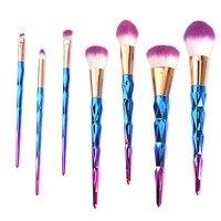 7Pcs Professional Kabuki Makeup Brushes Diamond Shape Handle Powder Foundation Eyeshadow Make Up Brushes Set