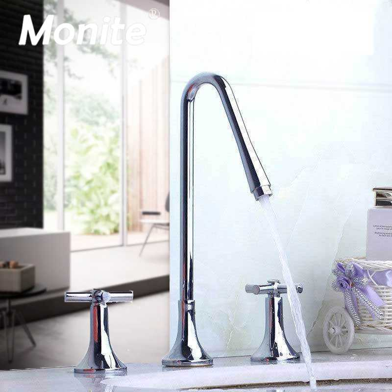 Drain Stopper Widespread Bathroom Basin Faucet 3 Hole Sink Mixer Tap 2 Handle