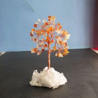 Natural agate lucky tree pachira base white crystal cluster lucky free shipping