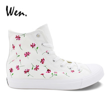 Wen White Womens Casual Shoes Design Custom Pink Floral Flower Hand Painted Shoes Hi-top Female Canvas Sneakers for Holiday Gift wen hand painted orange shoes design western style food lobster pimento tomato custom unisex canvas high top sneakers flattie