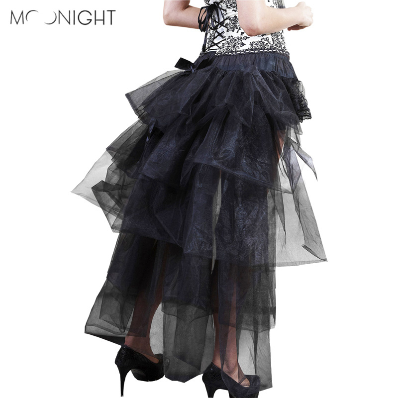 MOONIGHT Women's Hi-Lo Long Tutu Skirt Layered Tulle Fancy Party Irregular Mesh Tutu Skirt