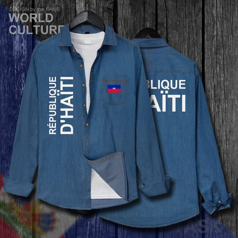 Hearty Haiti Haitian Hayti Ayiti Men Clothes Spring Autumn Cotton Turn-down Collar Jeans Shirt Long Sleeve Fashion Tops Cowboy Coat New