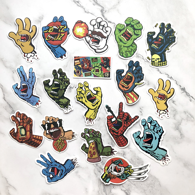 18pcs/lot Cool Santa Cruz Stickers For Notebook Laptop Stickers Toy Pvc Waterproof Suitcase Decals
