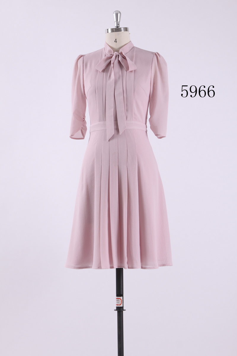 9b4a219832c50 Autumn 2018 Pink Dress Women Vintage Casual Dress A Line Elegant Half  Sleeve Pleated Bow Loose Party Regular Slim Dress AS05966-in Dresses from  Women s ...