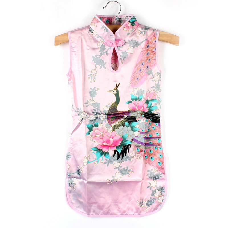 Toddler Kids Baby Girl Chinese Floral Peacock Cheongsam//Qipao Dress Clothes 2-8Y