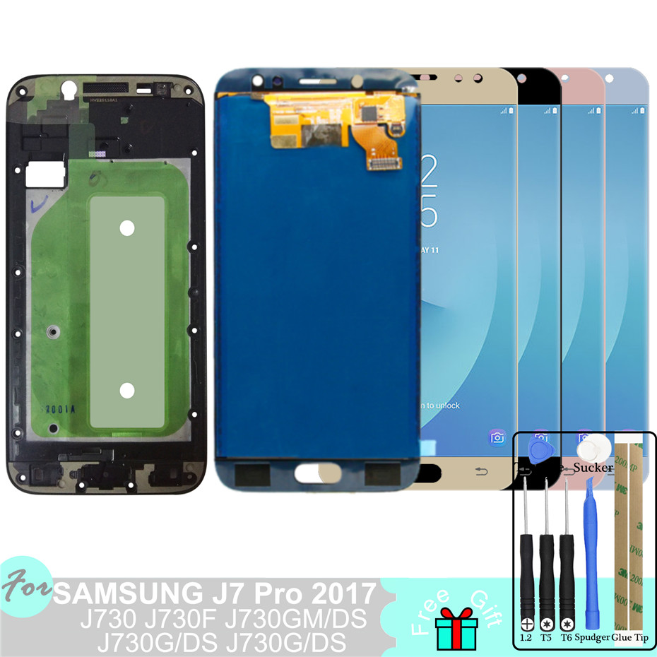 J730 <font><b>LCD</b></font> for Samsung Galaxy <font><b>J7</b></font> <font><b>Pro</b></font> 2017 J730 J730F Display SM-J730F/G/GM/FN/DS Touch <font><b>Screen</b></font> Digitizer Assembly <font><b>Replacement</b></font> Frame image