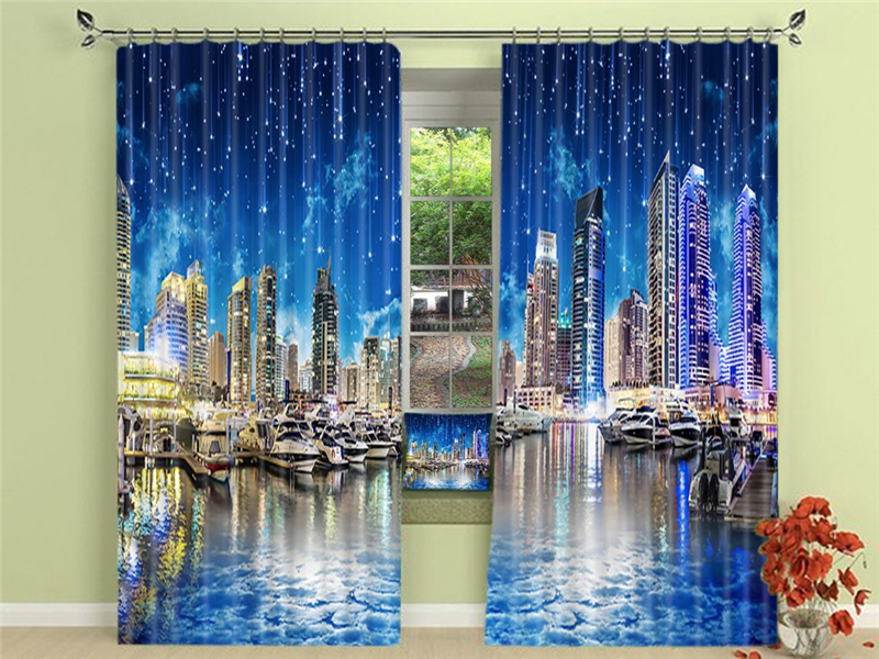 Beautiful meteor shower Blackout Curtains Healthy non-pollution Digital Print Colorful Curtains for Bedding room Living room