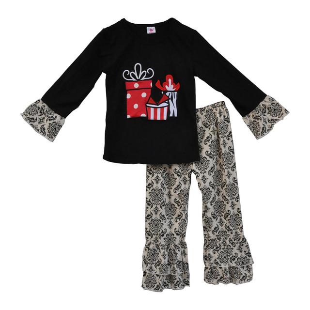 2017 roupas de bebê de natal do ano novo presente infantil preto manga tees vintage floral ruffle calças conjuntos de roupas meninas boutique f099