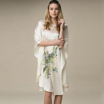 Natural Silk Dress Handmade Painted Flower Printed Female Nightgowns