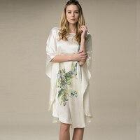 Silk Sleepshirts Nightdress Fashion Women Silk Sleepwear Natural Silk Dress Handmade Painted Flower Printed Female Nightgowns