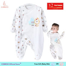 Купить с кэшбэком COBROO Newborn Baby Footies Pajamas 0-3 Month 100% Cotton 2018 Spring Infant Girl Boy Jumpsuit Baby Footies Socks 150001