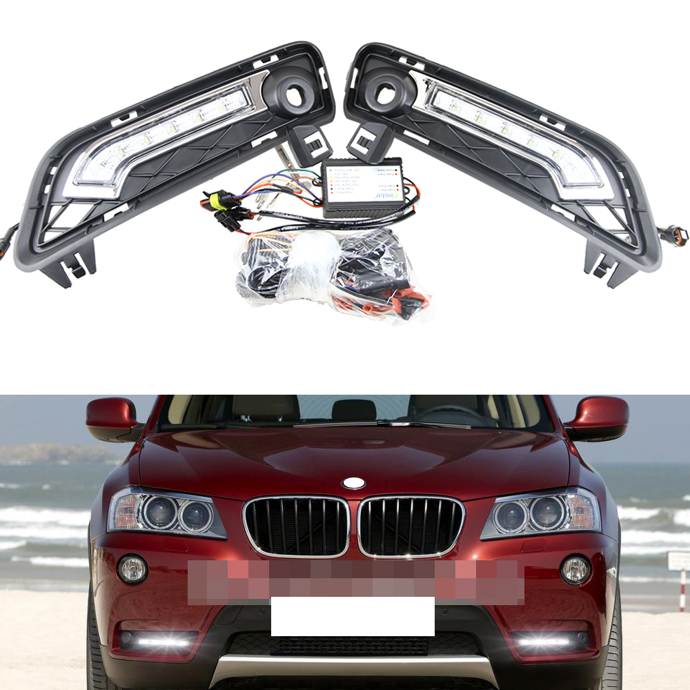 Direct Fit 10W High Power LED Daytime Running Lights DRL Kit for 2011-up BMW F25 X3 Car Driving Fog light lamps boaosi 1x h11 high power led light 4014 33smd 30w fog light driving drl car light no error for bmw e71 x6 m e70 x5 e83 f25 x3