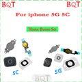 Nova marca para iphone 5 5c botão home flex cabo com chave + borracha + cabo flex + suporte completo de reparo para iphone 5