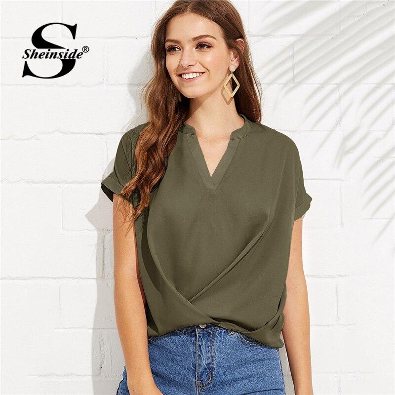 Sheinside ejército verde Casual cuello en V drapeado Top mujeres 2019 verano elegante sólido Blusa de manga corta OL señoras ropa de trabajo básica tops