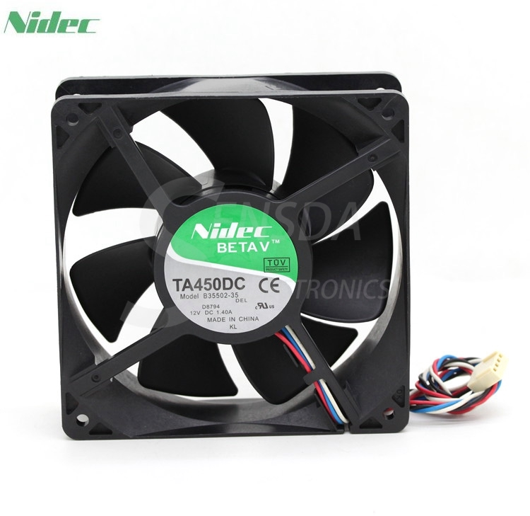 Original Nidec TA450DC B35502-35 12038 12cm  12V 1.4A For D8794 PWM controller fan 4wire nidec d12e 12ps2 01b 12038 120mm 12cm dc 12v 1 70a 12 cooling fan server inverter case cooler