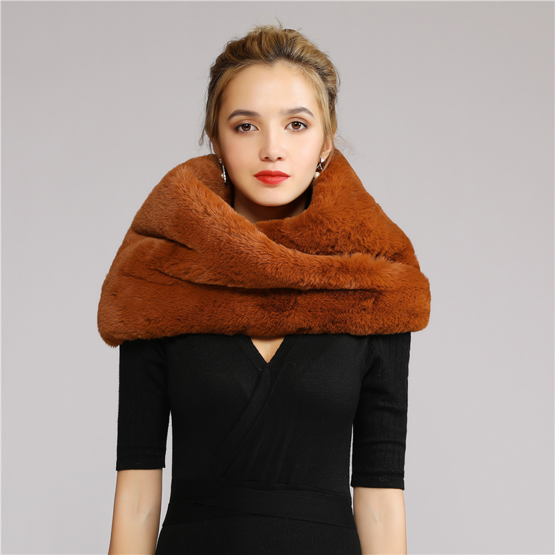 Bridal Winter Luxury Women Soft Faux Fur Scarf Snood Neck Wedding Warmer Scarf  Shawl Outdoor Wedding Accessories