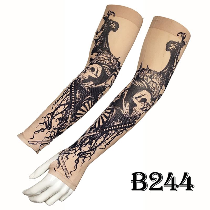 Unisex Sunscreen Ice Sleeve UV Protection Tattoo Arms Fingers Fingerless Fishing Print Warm Sleeve