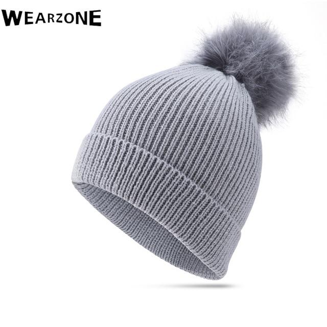 2017 Wearzone Winter Beanies Ladies Knitted Warm Hats Fashion Pom Pon Raux Rox Fur Caps Skullies Hat For Men Warm Fur Cap 2colos