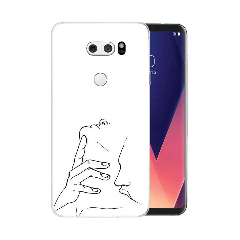 Sketch Couple Painted Pattern Soft Rubber TPU Case For LG Q8 Q7 Q6 G6 G7 G5 G4 V40 V30 V20 V10 Transparent Cover in Fitted Cases from Cellphones Telecommunications