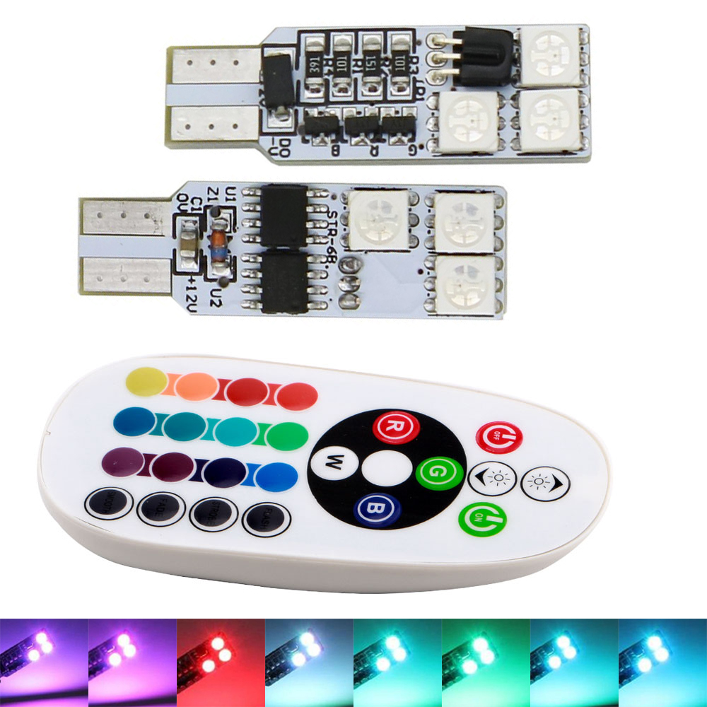 10Sets(20PCS) T10 RGB 5050 194 168 W5W Wedge Bulbs 12 SMD 5050 LED Light 12 LEDs Car Strobe Flash 16 Colors With Remote Controll