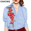 CHICING Women Striped Lantern Sleeves Half Sleeves Embroidery Blouse Turn Down Collar Shirt Dress blusa feminino B1609104