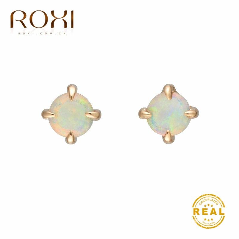 ROXI Small Round White Fire Opal Stud Earrings for Women Gold Filled Cute Korean Earrings 2019 Fashion Jewelry Wedding Earings