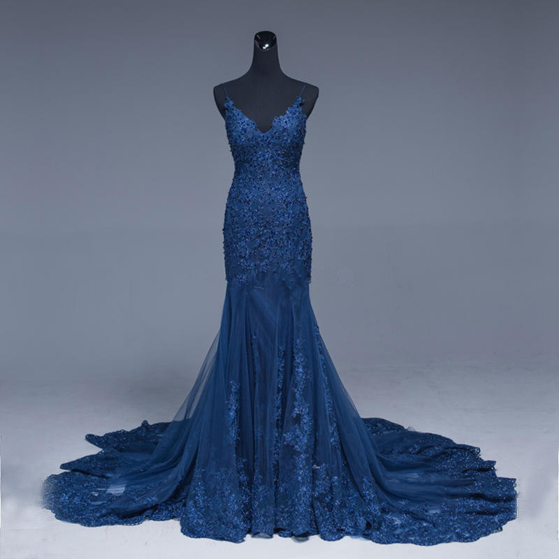 Dark Blue Mermaid Evening   Dresses   Backless Sexy Tulle Robe de Soiree Appliques Beaded   Prom     Dress   2019 Special Occasion Gown