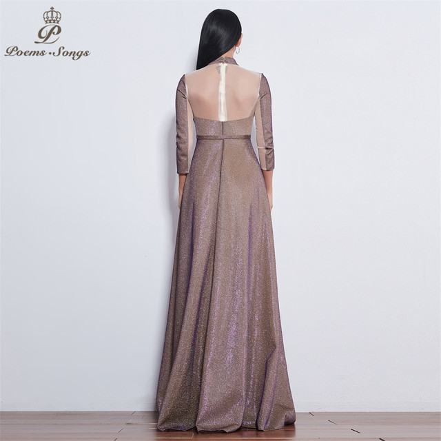 Poems Songs 2019 New style reflective dress beautiful colorful Long sleeve Evening Dress prom gowns  Formal Party dress 5
