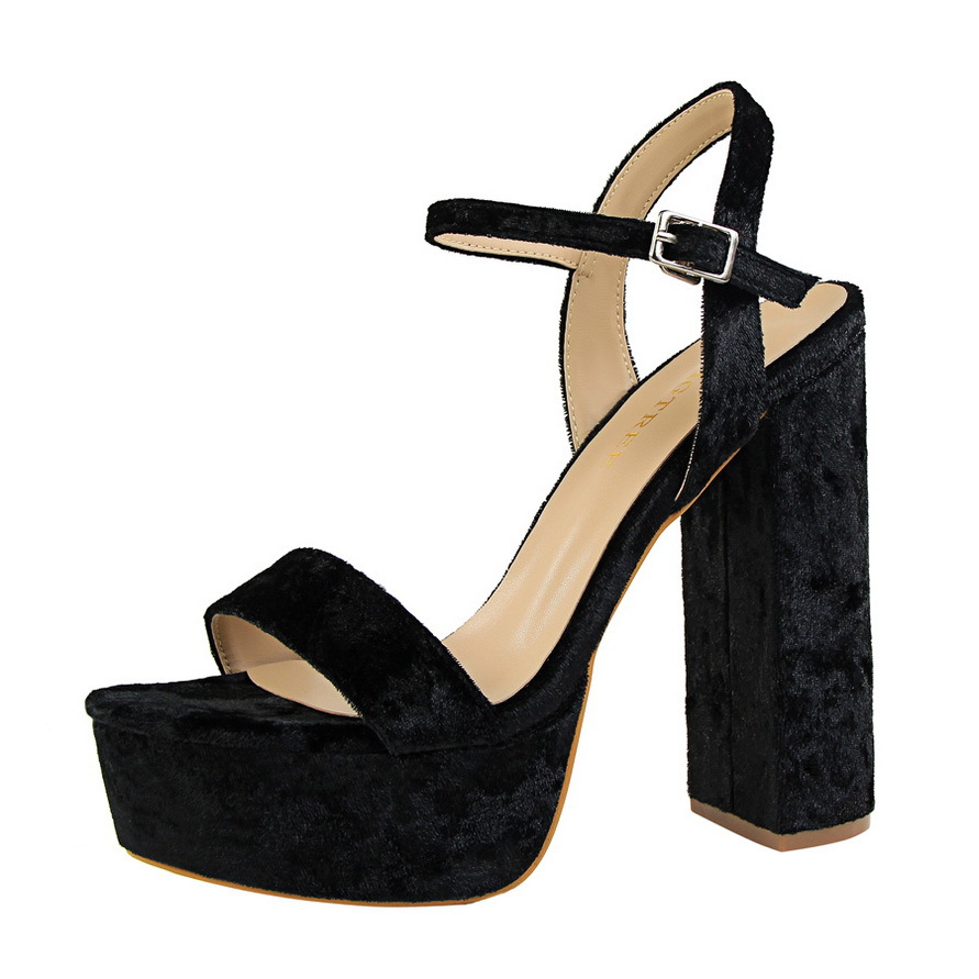 2017 New Summer Ankle Strap Sandals Women Pumps Flock Fashion Sexy Super High Heels Pointed Peep Open Toe Thick Heel Shoes new 2017 spring summer women shoes pointed toe high quality brand fashion womens flats ladies plus size 41 sweet flock t179