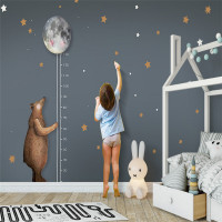 Custom Photo Wallpaper High Quality Non Woven Nordic Simple Cartoon Bear Moon Measurement Height Children Room