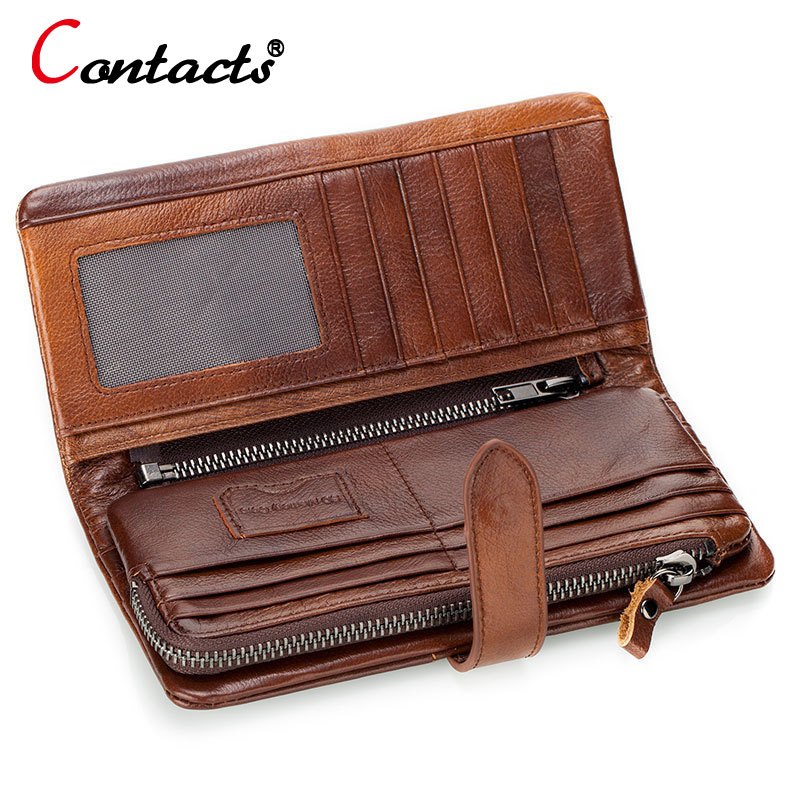 CONTACT'S Brown Genuine leather Men Wallet Men Purse Long Wallet Male Clutch Bag Coin Purse Zipper Credit Card Holder Phone Bag men s purse long genuine leather clutch wallet travel passport holder id card bag fashion male phone business handbag