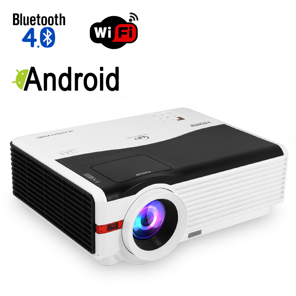 CAIWEI Android Blurtooth Wifi LED Projector 1080p HD Home Movie Video Smart Phone TV PC Games LED Multimedia VGA USB HDMI купить в Москве 2019