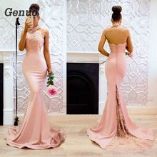 купить Genuo Summer Sexy Lace Maxi Dress Vestidos Halter Off Shoulder Backless Long Dress Robe De Soiree Women Bodycon Party Dresses дешево