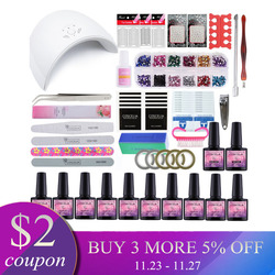 Manicure Set Dryer Lamp For Nails Set For Gel Nail Polish Set For Manicure Nail Extension Set 10 Colors Gel Varnish 8 ML
