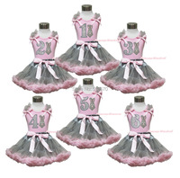 Easter Bunny Neckerchief Pink Top 1ST 2ND 3RD 4TH 5TH 6TH Birthday Gray Skirt Set 1
